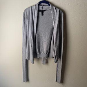 BCBG silk/cotton blend crop cardigan